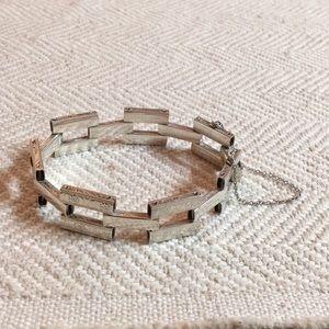 Vintage Sterling Silver Etched Link Bracelet